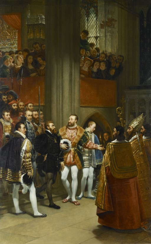 Charles V received by François 1st at the abbey of Saint-Denis in 1540. Baron Antoine-Jean GROS louvre louvremuseum francois1er francisi charlesquint charlesv emperor king dress clothes clothing black colors renaissance entertainment xvi 16th spain france fashion communication politics politicalcommunication influencer duel competition guide culture history paris